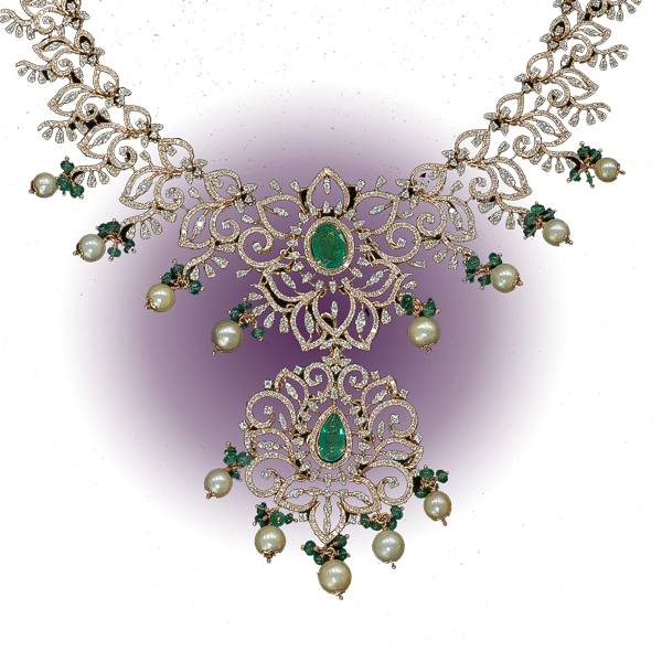 Emerald & Pearl Studded Fancy Necklace